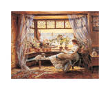 Reading by the Window Hastings Giclee Print by Charles James Lewis