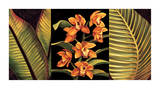 Orange Orchids and Palm Leaves Giclee Print by Rodolfo Jimenez