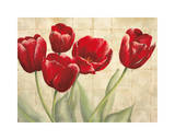 Red Tulips on Ivory Giclee Print by Lauren Mckee
