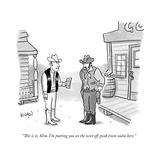 """""""This is it, Slim. I'm putting you on the next off-peak train outta here."""" - New Yorker Cartoon Premium Giclee Print by Robert Leighton"""