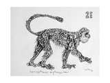 2E Red-Bellied Monkey, 2009 Giclee Print by Xavier Cortada