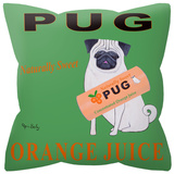 Pug Orange Juice Pillow Throw Pillow