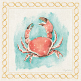 Coastal Mist Crab Border Turquoise Art by Elyse DeNeige