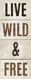 Wood Sign Live Wild and Free on White Panel Poster di Michael Mullan