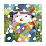 Snowman in Snow, 2011 Giclee Print by Jennifer Abbott