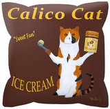Calico Cat Pillow Throw Pillows