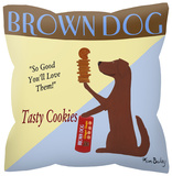 Brown Dog With Cookies Pillow Novelty