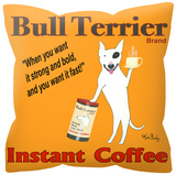 Bull Terrier Instant Coffee Pillow Throw Pillow
