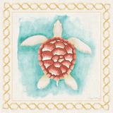 Coastal Mist Sea Turtle Border Turquoise Poster van Elyse DeNeige