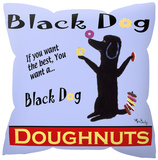 Black Dog Doughnuts Pillow Throw Pillows
