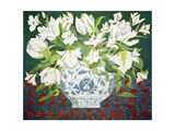 White Double Tulips and Alstroemerias, 2013 Giclee Print by Jennifer Abbott