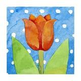 Tulip Blue White Spot Background, 2013 Giclee Print by Jennifer Abbott