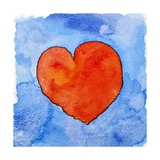 Red Heart on Blue, 2011 Giclee Print by Jennifer Abbott