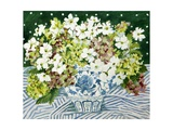 Cosmos and Hydrangeas in a Chinese Vase, 2013 Giclee Print by Jennifer Abbott
