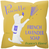 Poodle French Lavendar Soap Pillow Throw Pillow