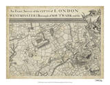 Map of London Grid II Giclee Print