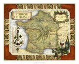 Wine Map of France on CGP Reproduction procédé giclée
