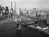 Manhattan Bridge with Twin Towers Papier Photo