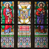 Prague, St. Vitus Cathedral, Stained Glass Window, St Bartholomew, St Matthew Photographic Print by Samuel Magal