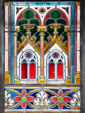 Prague, St. Vitus Cathedral, Stained Glass Window, Decorative Motifs Photographic Print by Samuel Magal