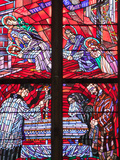 Prague, St. Vitus Cathedral, Chapel of the Holy Sepulcher, Stained Glass Window, Acts of Mercy Photographic Print by Samuel Magal