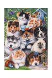 Kittens and Puppies in the Garden Giclee Print by Jenny Newland