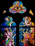 Prague, St. Vitus Cathedral, Southern Aisle, Chapel of St Ludmila, Stained Glass Window Fotografisk tryk af Samuel Magal