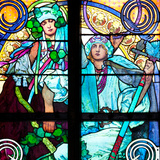 Prague, St. Vitus Cathedral, Window in the New Archbishop Chapel, Mucha Stained Glass Window Photographic Print by Samuel Magal