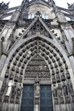 Germany, Cologne, Cologne Cathedral, North Facade, Portal of Michael Photographic Print by Samuel Magal