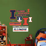 Illinois Fighting Illini Logo Assortment - Fathead Jr. Wall Decal