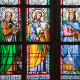 Prague, St. Vitus Cathedral, Stained Glass Window, St. Luke, St. Joseph, St. Sigismund Photographic Print by Samuel Magal