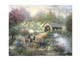 Merriment at Covered Bridge Giclee Print by Nicky Boehme