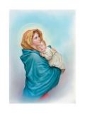 Mary Holding Jesus Giclée-tryk af Christo Monti
