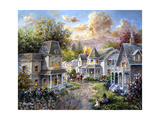 Main Street Along a Country Village Impression giclée par Nicky Boehme