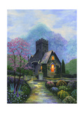 Irish Church and Garden Giclee Print by Bonnie B. Cook