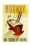 Norway Cradle Skiing Giclee-trykk