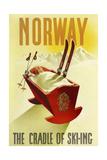 Norway Cradle Skiing - Giclee Baskı
