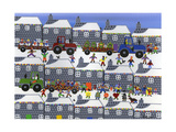 Parade in Winter Town Giclee Print by Gordon Barker