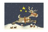 Santa's Reindeer Giclee Print by Margaret Wilson