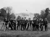 Press Correspondents and Photographers on White House Lawn Photographic Print
