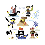 Pirates and Ships Giclee Print by Erin Clark