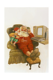 Santa Learning Computer Giclee Print by Hal Frenck