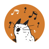 Orange Music Cat Giclee Print by Carla Martell