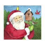 santa log birdhouse Giclee Print by Melinda Hipsher