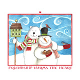 Snowman Bear Friendship Giclee Print by Melinda Hipsher