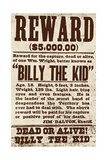 Reward Billy the Kid Giclee Print