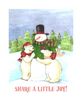 Snowman and Polar Share Joy Giclee Print by Melinda Hipsher