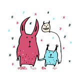 Two Little Monsters Giclee Print by Carla Martell