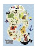 Treasure Map Giclée-tryk af Erin Clark