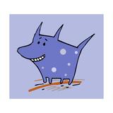 Purple Polka Dot Dog Giclee Print by Carla Martell